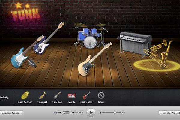 garage band workshops interface